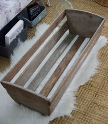 Caisse ancienne bois brut style berceau