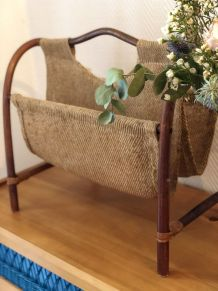 Porte revue bambou et tissu chiné