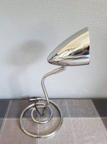 lampe de bureau chromée articulée et pied ressort vintage