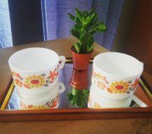 Duo de tasses fleuries