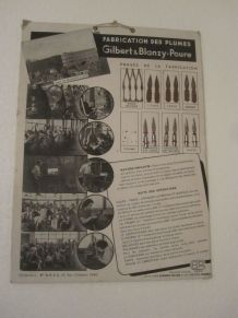 ancienne planche fabrication des plumes Gilbert & Blanzy