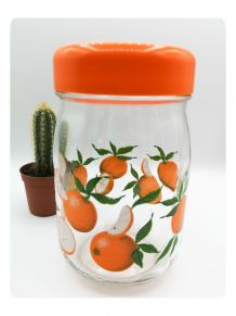 Pot en verre couvercle orange