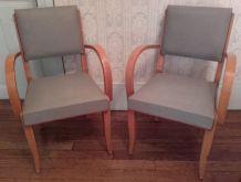 Deux fauteuils bridge vintage skai gris
