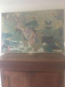 Tableau toile patchwork année 80 - 83x123