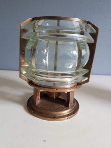 Rare lampe BBT  numérotée en bronze et lentille en verre
