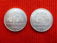 2 PIECES DE 100 FRANCS.1986/1987