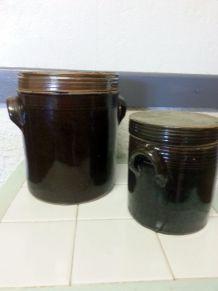 Pots en grès vintage avec couvercle, marron lot de 2