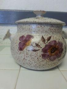Poubelle de table grès émaillé décorée
