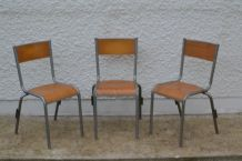 Chaises scolaires des années 70 lot de 3
