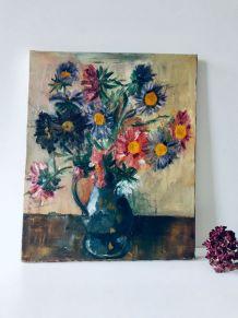 Tableau ancien huile sur toile, bouquet de fleurs