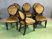 Suite de 6 chaises Victoriennes XIXème en acajou