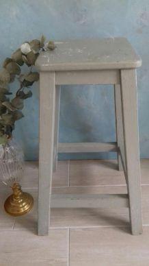 Tabouret d'atelier bois peint gris