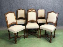 Suite de 6 chaises en merisier - années 50