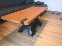 Table basse industrielle fonte et bois