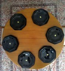Ensemble d'assiettes octogonales noires en Arcoroc neuves