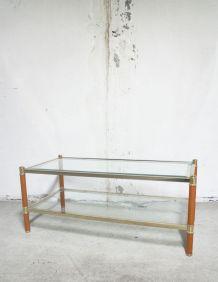 SOLDES - Table basse vintage LANCEL verre & cuir metal doré