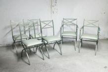 Série de 6 fauteuils et chaise vintage Pierre Vandel