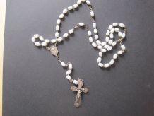 Chapelet ancien en métal avec perles en nacres