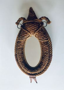 Miroir années 50 en corde par Audoux-Minet