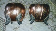 2 petits pots anciens en cuivre rouge