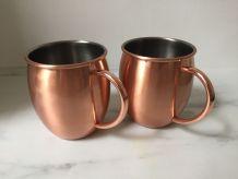2 verres à cocktail imitation cuivre