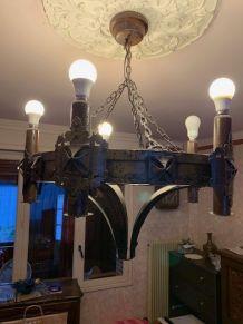 Luste rustique métal et bois 5 ampoules