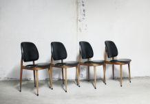 Suite de 4 chaises Pierre Guariche vintage années 50