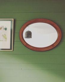 Grand miroir ovale cadre bois