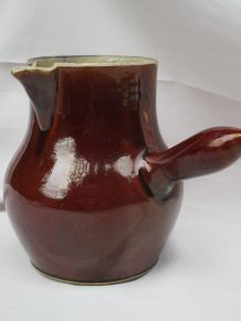 pot à lait broc pichet en grè vernissé marron très ancien