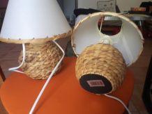 2 lampes de chevet pied rotin