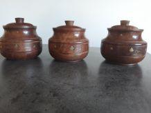 3 Boites rondes en bois