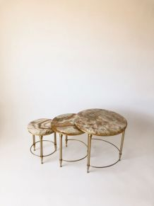 Tables gigognes marbre et laiton