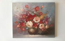 Tableau huile sur toile bouquet de fleurs