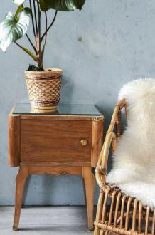 Table de chevet années 50, pieds compas et dessus  miroir