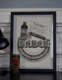 Publicité encadrée FLY TOX années 30 et sa boite fer