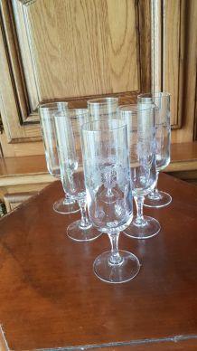 lot 6 flûtes à champagne