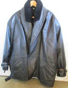 Blouson veste cuir noir doublé homme