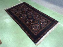Tapis afghan en laine et soie fait main - 186x101cm