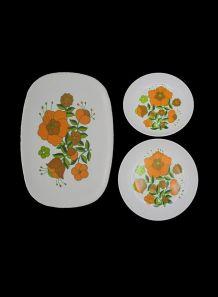 Plat rétro Tefal + 2 assiettes