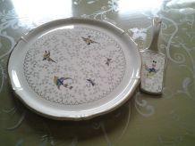 Plat et pelle à tartes faïence de longwy