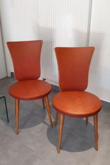 Belle suite de 4 chaises design - vintage - circa 1960