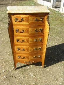 Ancien meuble 5 tiroirs  Bois massif et marqueterie