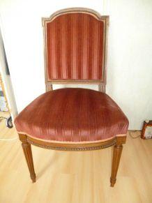 Lot 4 Chaises fauteuil ancien Louis XVI chêne velours