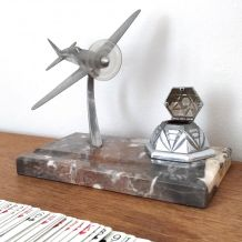 Porte stylo Aviation - Encrier en marbre et Avion en métal
