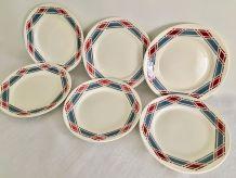 Ensemble de 6 assiettes plates Badonviller
