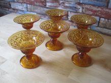 6 coupes a glaces   belle couleur ambre 1970/1980