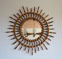Miroir soleil en rotin vintage 70's