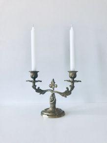 Bougeoir chandelier en laiton doré