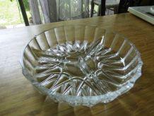 plat à apéritif en verre taillé - 3 compartiments