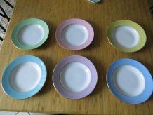 Ensemble 6 assiettes creuses de couleur